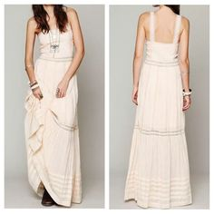 FREE PEOPLE Dress Eyelet Tank Bohemian Maxi Gown Size Small. New With Tags.  $285 Retail + Tax.    Crinkled blush maxi dress featuring sheer lace trimming and fitted bodice. Lined with a mini dress.  Hidden side zip.  Perfect for homecoming, prom etc. By Candela for Free People.   Cotton.  Imported.   ❗️ No trades or holds.   Bundle 2+ items for a 20% discount!    Stop by my closet for even more items from this brand!  ✔️ Items are priced to sell, however reasonable offers will be considered…