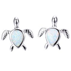 Turtle Opal Earrings (Blue or White)