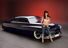 From the Austin Speed Shop - Jesse James 51 Mercury . Johnny Depp has one of these - cool old cars Rat Rods, Car Girls, Pin Up Girls, Girl Car, Cool Old Cars, West Coast Choppers, Lead Sled, Jesse James, Kustom Kulture