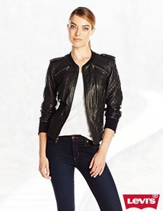 Levi's Women's Quilted Leather Bomber Jacket
