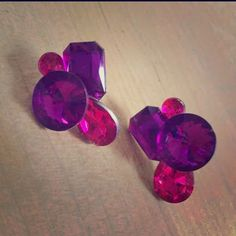 Art Deco Pink Purple Bling Earrings Post style, great condition, worn once. Make an offer. Jewelry Earrings