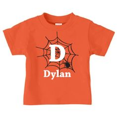 Spider web t-shirt, personalized Halloween t shirt for kids