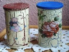 manualidades con craquelado - Buscar con Google Aluminum Can Crafts, Tin Can Crafts, Aluminum Cans, Recycled Jars, Recycled Crafts, Decoupage Vintage, Painting Canning Jars, Lace Jars, Paint Recycling