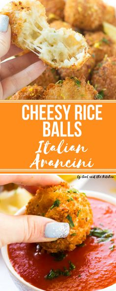 These incredible little Italian Rice Balls are loaded with cheese and make perfect party treats! Loaded with plenty of cheese and tender risotto these crispy little balls of flavor are best freshly fried but best of all they are just as good made ahead and baked!