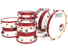 Spaun Drum Co. Acrylic 12, 16, 18, 24 Clear w/Red Stripe