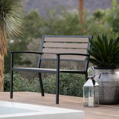 Coral Coast Dennison All Weather Resin Wood and Metal 50 in. Garden Bench | from hayneedle.com