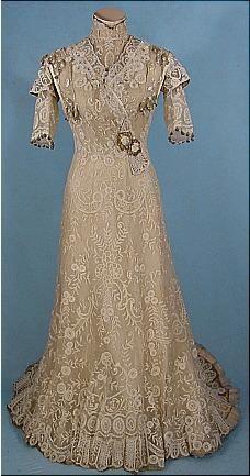 c. 1909  Battenburg Lace Gown w/ Gold Lame Trim