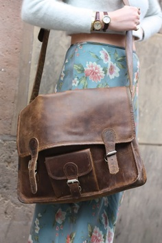 super worn-in vintage satchel... Plus the skirt and everything else