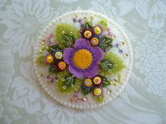 Felt Flower Beaded Pin by Beedeebabee on Etsy, $25.00
