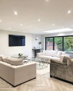 749 Likes, 116 Comments - Lea Conservatory Extension, Love Island, Open Plan Living, Kitchen Dining, Lounge, Couch, Pinterest Board, Furniture, Videos
