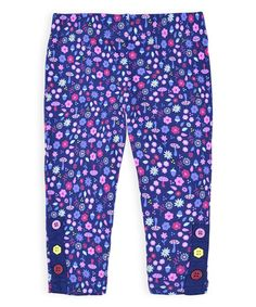 Loving this Crown Blue Floral Leggings - Infant, Toddler & Girls on #zulily! #zulilyfinds