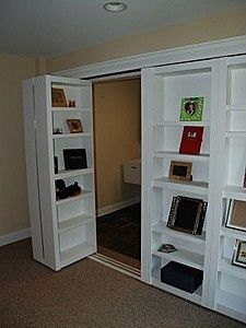 Bookshelf closet doors -- HOW is it possible I never thought of this?!.