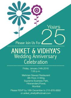 25th Wedding Anniversary Invitation flower theme