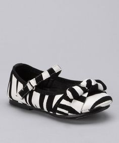 Take a look at this Black & White Zebra Buckle Flat by Lucky Top on #zulily today!
