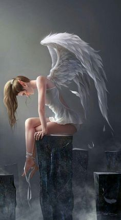 angel, wings, silence, meditation, inspiration just give iGreets. Fantasy Creatures, Mythical Creatures, Ange Demon, Angels And Demons, Fairy Art, Fantasy Artwork, Fantasy Drawings, Fantasy World, Fantasy Characters