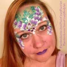 Inspired by Paty de Leon Flower fairy face paint design One stroke design with bling cluster Makeup art teen adult Artist - Marie Sulcoski Face Painting Designs, One Stroke, Balloon Animals, Flowers Nature, Makeup Art, Face And Body, Body Art, Balloons, Bling