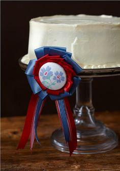 red, white + blue ribbon cake via cakewalk baking