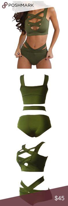 Women's Sexy Criss Cross High Waist Bikini Fabric:88% Polyester,12% Spandex.Good elastic and quickly dry material. XL=US 12-14 Swim Bikinis