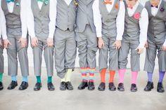 #Groom and #Groomsmen rocking bold socks Photography: Jordan Brittley - jordanbrittley.com  Read More: http://stylemepretty.com/2013/10/25/missouri-rainbow-wedding-from-jordan-brittley-photography/