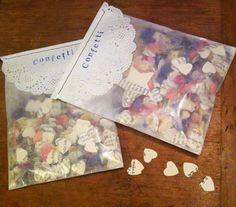 Bags of petal and book page confetti