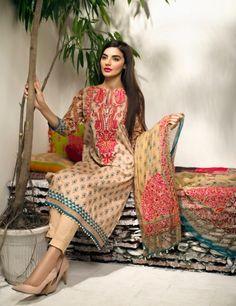 Khaadi Pink Pakistani Cotton Lawn Suit With Chiffon Dupatta F15527B