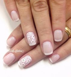 Nude nail art with floral details and French tips. Combing your French tips with floral details to make the nude nail polish from beneath stand out even more. Love Nails, Pretty Nails, Fun Nails, Wedding Nail Polish, Wedding Nails, French Nails, French Manicures, Nail Polish Designs, Nail Art Designs