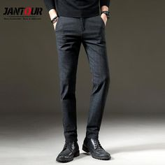 Jantour Autumn Pants Men Casual Elastic Long Trousers Male Cotton Lattice Straight Gray Work Pant Me Smart Casual Men Work, Men Casual, Casual Pants, Loose Pants, Slim Pants, Mens Work Pants, Men Pants, Fall Pants, Running Pants