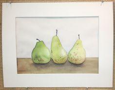 Watercolor, Art, Pears, Still Life ©2015 by Ada Keesler