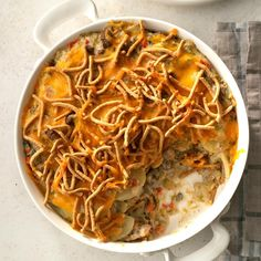 Straight from your mother's church cookbook, to your plate. this Church Supper Hot Dish is incredibly heartwarming. Click the link in our… Beef Casserole Recipes, Potluck Recipes, Cooking Recipes, Dinner Recipes, Cooking Tips, Hamburger Recipes, Meat Recipes, Dinner Ideas, Hamburger Dishes