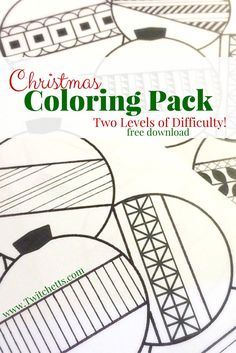 Get your Free Christmas Coloring Pack. This Free Printable download includes a kids coloring page and an a more detailed adult coloring page.