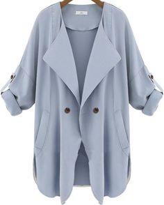 Women Loose Long Sleeve Casual Jacket, Plus Size, Khaki, Light Blue Blue Trench Coat, Double Breasted Trench Coat, Trench Coats, Trench Jacket, Khaki Trenchcoat, Khaki Coat, Khaki Jacket, Fashion Clothes, Winter Fashion