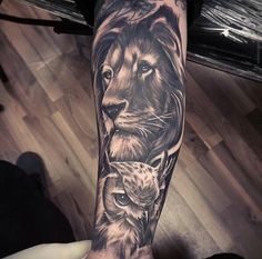 Sick lion and owl tattoo!