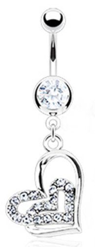 """Dangling Loop Heart Sexy Belly Button Navel Ring Body Jewelry Piercing Dangle with Clear Gems and Surgical Steel Bar 14g 14 Gauge 3/8"""" like the one I broke):"""