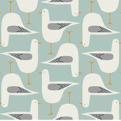 Designer Seagull Fabric, Bird Textile Collection