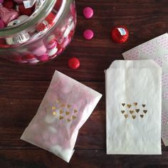 tiny gold hearts glassine treat bags by lettercdesign on Etsy, $5.75