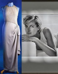 Worn: 1993++ for private functions. 1997 (About Apr) Photo shoot with Mario Testino for Vanity Fair.  Grey silk sarong-style evening dress embroidered with simulated pearls and sequins was designed by Catherine Walker