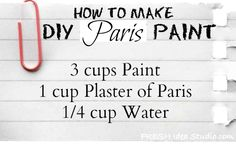 DIY Paris Paint recipe/ ChALK PAINT