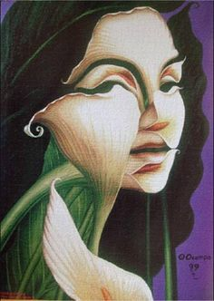 "Octavio Ocampo - Lily Woman - Surrealism   Discover the latest art shows in NYC (""Like"" us here): www.facebook.com/... And never miss a thought-provoking review again: www.artexperience..."