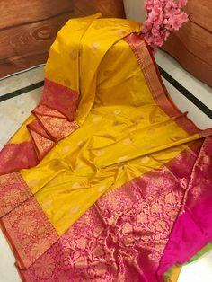 Indian Bridal Sarees, Bridal Silk Saree, Bridal Lehenga, Kanjivaram Sarees Silk, Pure Silk Sarees, Red Saree Wedding, Saree Color Combinations, Engagement Saree, Bride Reception Dresses