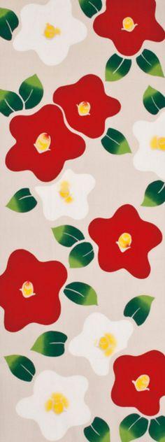 Fabric Art, Cotton Fabric, Wall Fabric, Japanese Sewing Patterns, Japanese Drawings, Japanese Fabric, Camellia, Flower Patterns, Kawaii