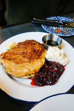 BUTTERMILK PANCAKES. Bacon, Maple Syrup / Berries, Banana, Maple Syrup.