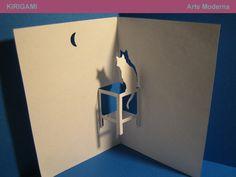 Avec une chouette à la place du chat ? popup card, kirigami, cat