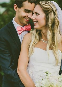 Simple, classic elements like coral bowties and a soft cream bridal bouquet amp up the charm on this Southern summer wedding inspiration.
