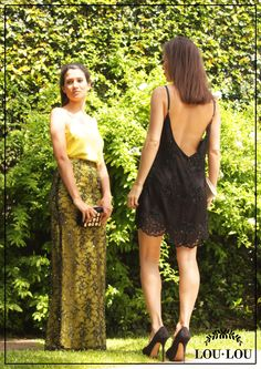 Mechi: falda Foix en tul bordado con forrería en lima y musculosa Estrasburgo lima / Sofi: vestido Avignon en tul bordado negro