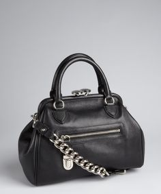 Marc Jacobs black leather kisslock 'Mini Stam' chain small bag | BLUEFLY up to 70% off designer brands