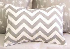 Decorative Pillows Covers - Chevron Ash Gray & White - 12 x 16 Throw Pillow Cushion -Dorm Decor