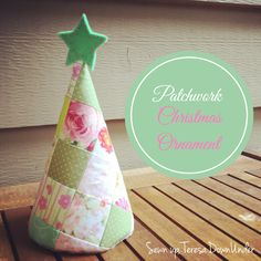 Patchwork Christmas tree ornament video tutorial. Make an easy sewing project with fabric scraps.
