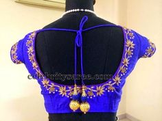 Simple Work Designer Blouse in Blue | Saree Blouse Patterns