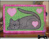 PDF Pattern for Kitten Mug Rug, Cat Mug Rug Pattern,Cat Candle Mat Pattern, Cat Mini Quilt Pattern - Tutorial, DIY