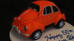"Volts Wagon Beetle Cake. Orange Beetle Cake. Made by Misti Short Cakes. www.mistishortcake.com  My first ""car"" cake. Not bad eh?"